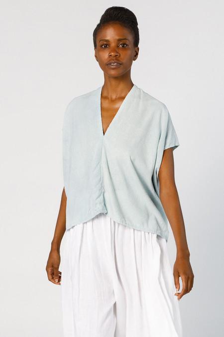 Miranda Bennett In-Stock: Everyday Top, Cropped, Silk Noil in Light Indigo