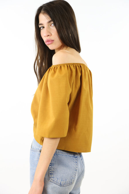 Side Party First Sight Shoulder Top - Mustard