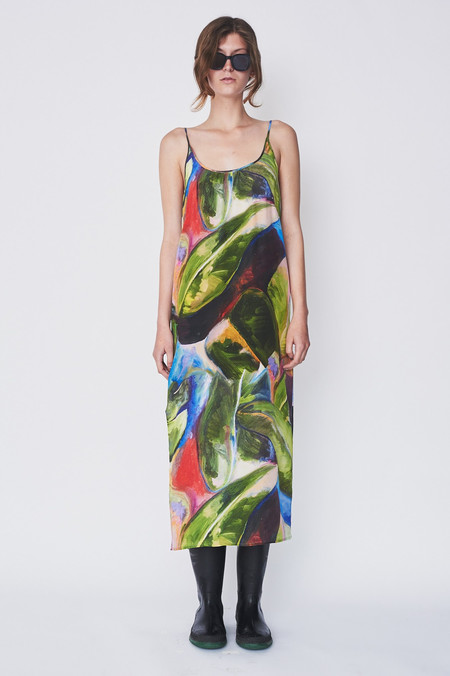 Strathcona Silk Painted Palm Slip Dress