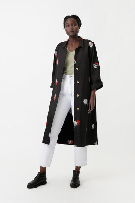 Osei-Duro Denim Trench in Flowers