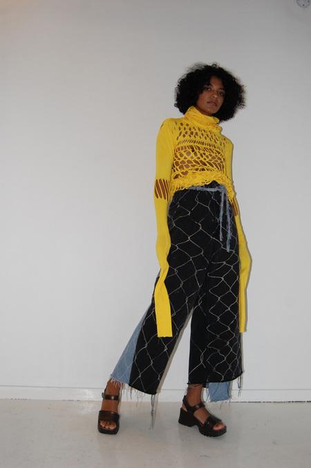Steph Linn Recycled Denim Chain Link Wrap Jeans