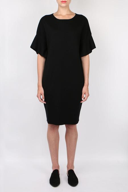 Allude Ruffle Sleeve Dress - black