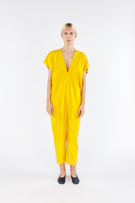 Miranda Bennett Everyday Jumpsuit, Silk Noil in Marigold