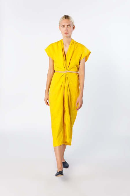 Miranda Bennett In-Stock: Knot Dress, Linen in Lemon
