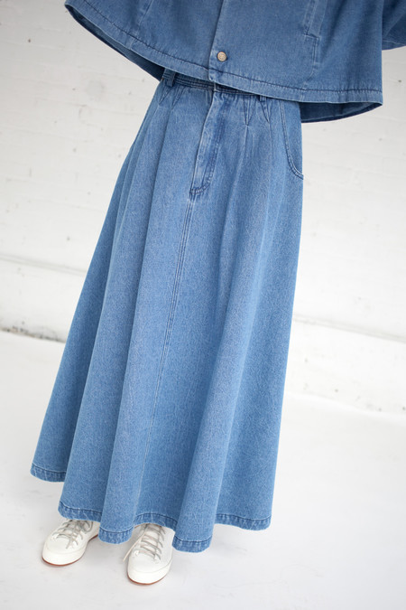 69 Cow Person Skirt in Medium Light Denim