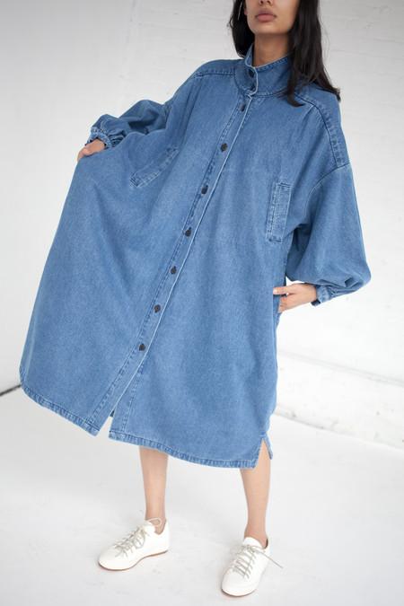 69 Pleated Coat Dress in Medium Light Denim