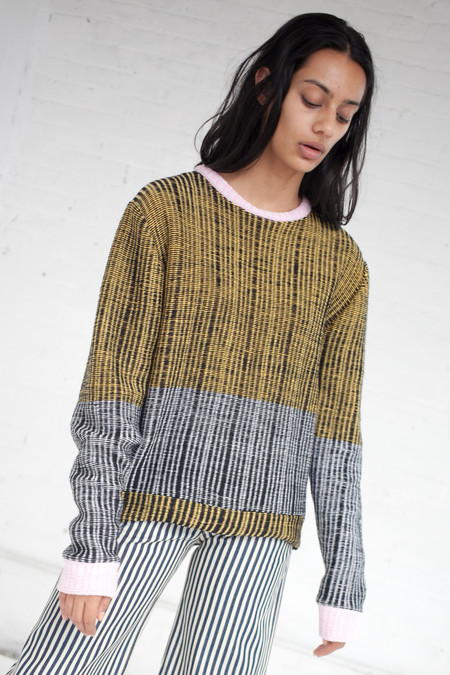 ECKHAUS LATTA Wiggly Road Sweater in Yellow/Black