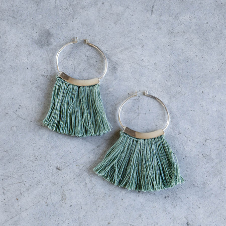 Erin Considine Mini Fringe Hoops in Verde