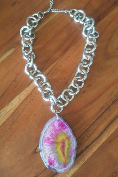 Amelie Repurposed Pink Starburst Necklace