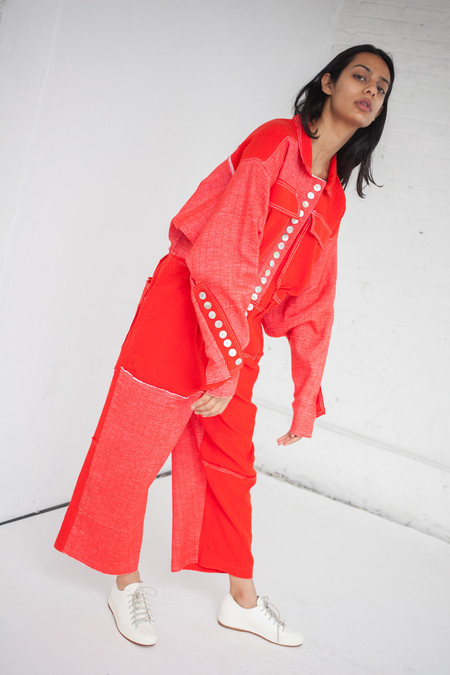 Luna Del Pinal Woven Stretch Cotton Jumpsuit in Red