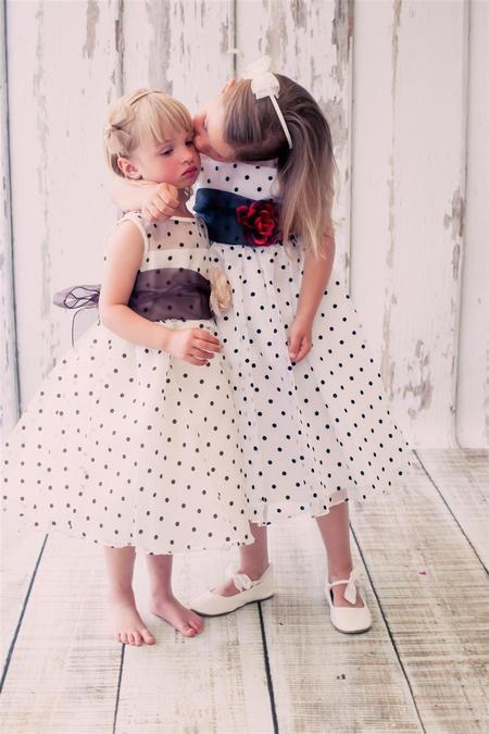 Kids Organza Polkadot Dress White/Black