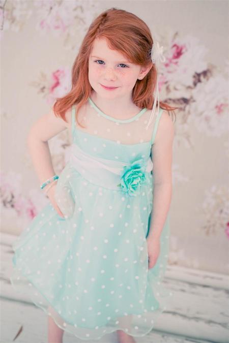 Kids Paisley Organza Polkadot Dress