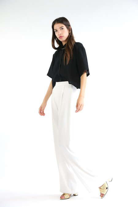 Side Party Fresh Cropped Pleated Shirt - Black