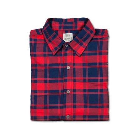 Product of Bob Scales Short Sleeve Daily Driver in Red & Blue Flannel
