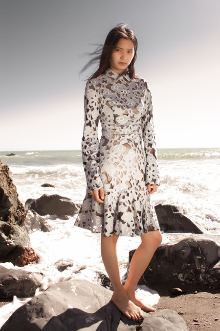 NIKA TANG Hanna Lasercut Suede Dress