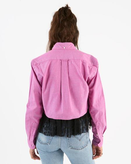 Gitman Sister chambray crop top - pink iridescent