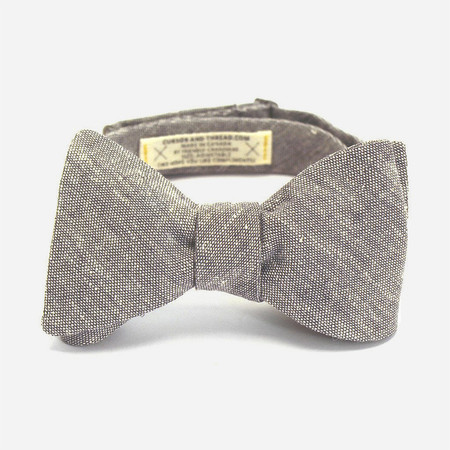 Cursor & Thread Salt & Pepper Linen Bow Tie - Grey