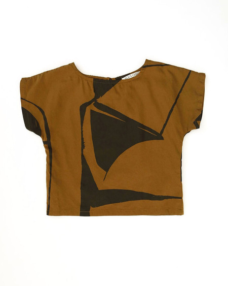 Kid's Black Crane Linen Box Tee - Teak/Black