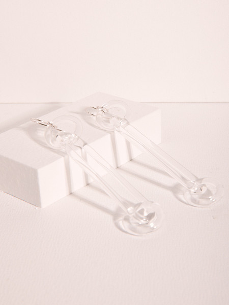 JANE D'ARENSBOURG Glass Oblong with Circle Earrings