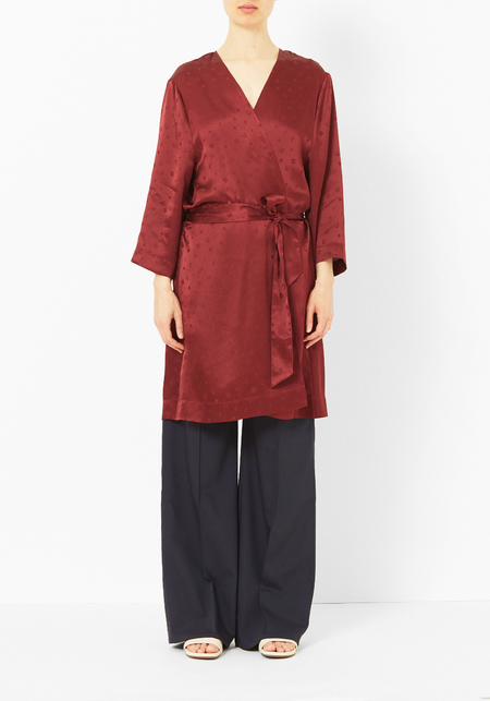 Ganni Cabernet Silk Robe Coat