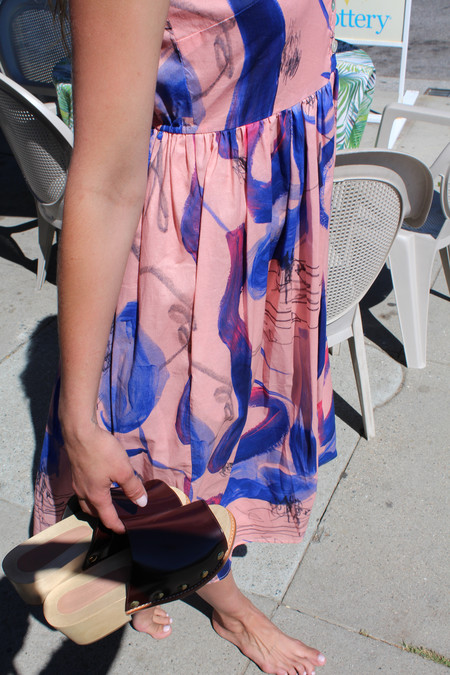 Heinui Sonny Dress Pink Abstract Print