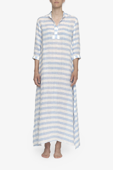 The Sleep Shirt Full Length Sleep Shirt Blue Horizontal Stripe