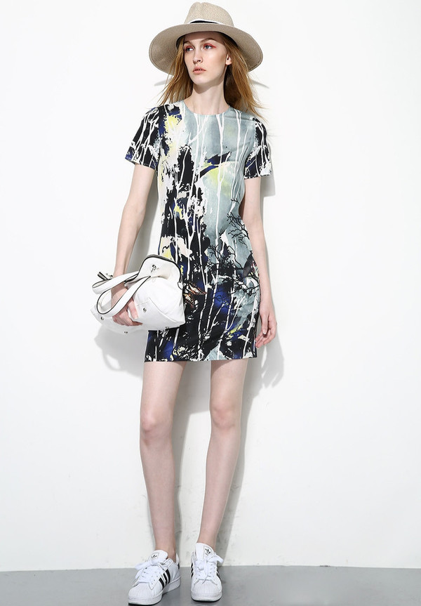 Few Moda Silk Ink Mountain Print Dress