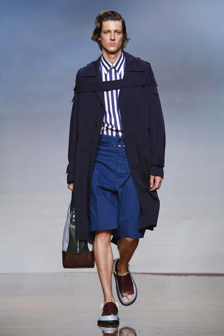 Marni Navy Belted Trench Coat