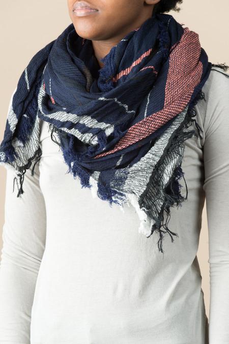 Tamaki Niime #17 Cotton/Wool Shawl In Navy