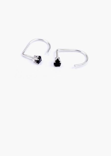Hart & Stone black curl earring silver