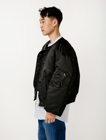 Hed Mayner Collarless Bomber Black