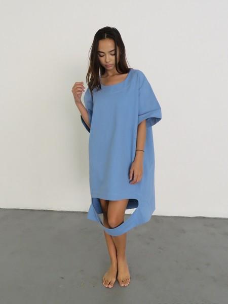 NANCY STELLA SOTO CUTOUT DENIM DRESS - BLUE