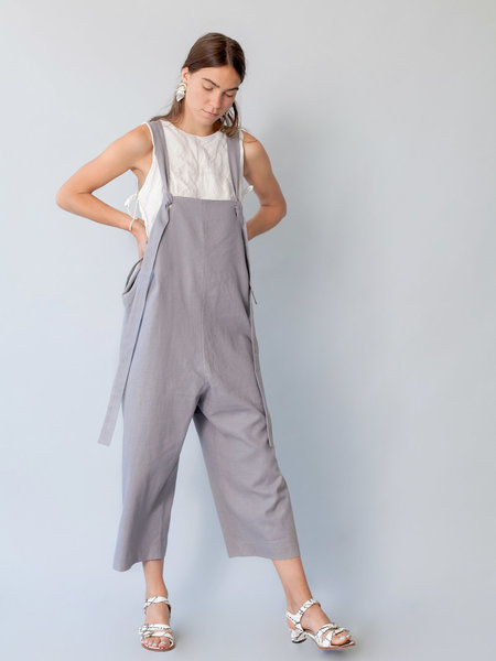 Lera Pivovarova Linen Work Frida Overalls in Grey Cloud