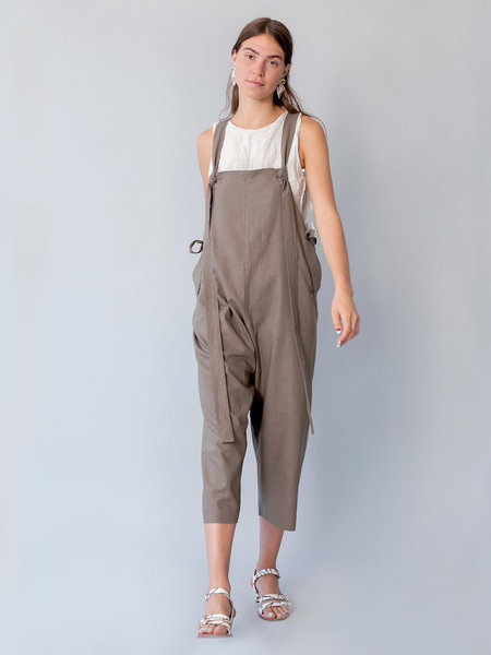 Lera Pivovarova Linen Work Frida Overalls in Military Green