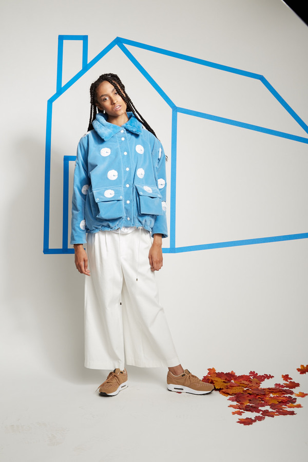 Calle del Mar by Aza Ziegler Embroidered Cord & Shearling Jacket