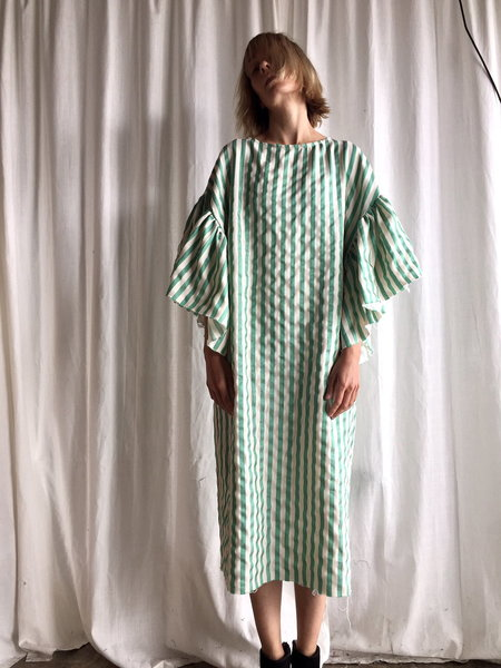 Kate Towers oyster dress in green stripe