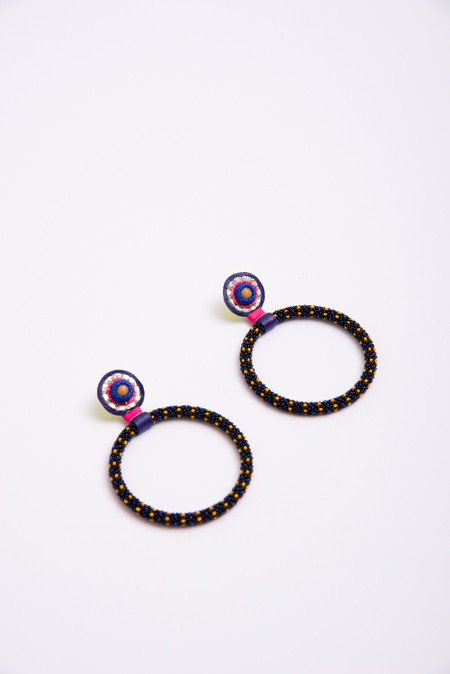 Robin Mollicone Large Hoop Earrings in Black Multi