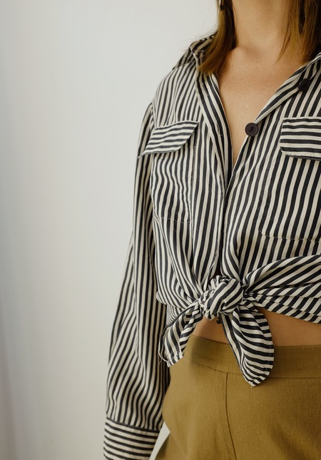 Hey Jude Vintage Striped Silk Blouse