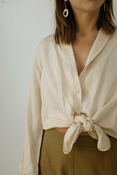 Hey Jude Vintage Blush Silk Top
