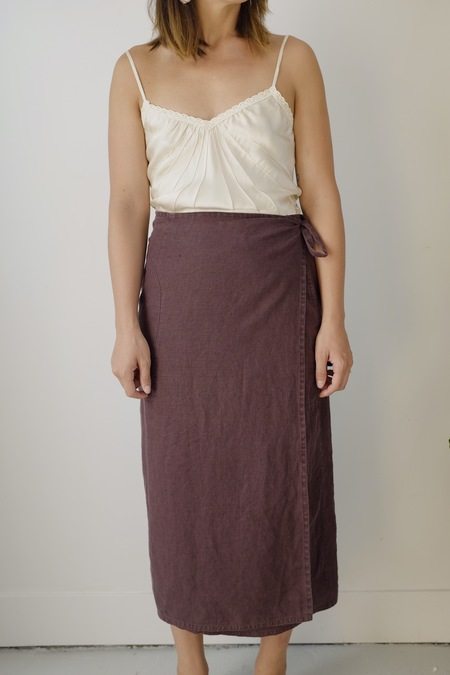 Hey Jude Vintage Russet Linen Wrap Skirt