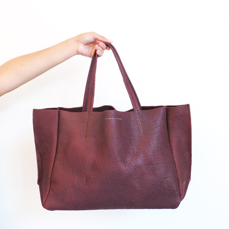 Ampersand as Apostrophe Sideways Tote in Oxblood Buffalo