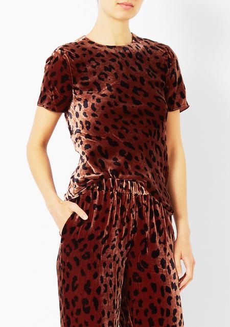 Tibi Velvet Cheetah Print Tee