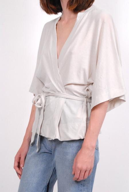Raquel Allegra Cropped Kimono Wrap - Dirty White