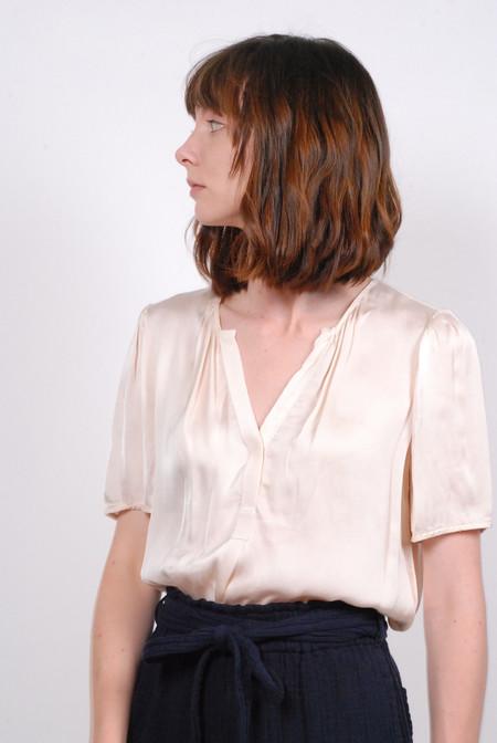 Raquel Allegra Ribbon Short Sleeve Blouse - Ivory