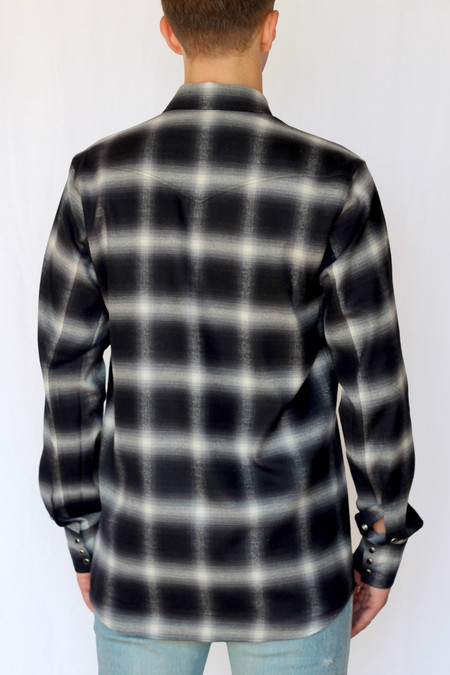 Commun des Mortels shadow plaid western shirt - asphalt