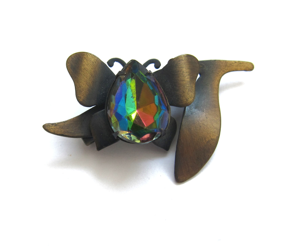 Vintage Collection Bronze and Glass Butterfly Pin