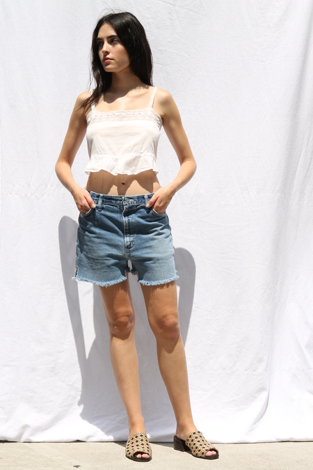 DUO NYC VINTAGE COTTON EYELET TANK