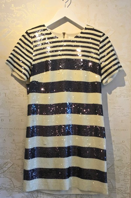 Veronica Beard 'Evan' Sequin Stripe Tee Shirt Dress