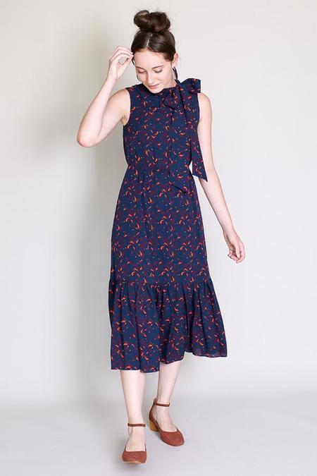 Tanya Taylor Oriana Dress in Navy/Raspberry