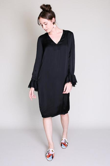 Raquel Allegra Ruffle v neck dress in black
